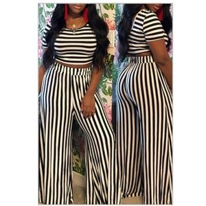 Casual stripped printed 2 piece pants set